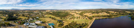 Wide aerial panorama of Beaufort township and lake. Scenic Australian countryside.