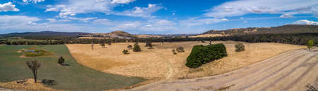 Pastoral agricultural land in Australia - wide aerial panorama