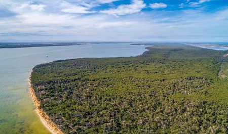 Scenic view of Pelican Bay in Gippsland, VIctoria, Australia - aerial landscape 写真素材