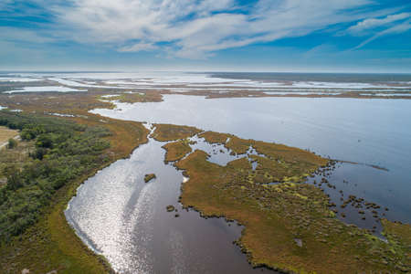 Lake Wellington in Gippsland, Victoria, Australia - aerial view 写真素材