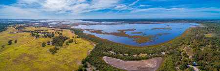 Wide aerial panorama of Lake Wellington in Gippsland, Australia