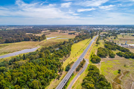 A440 Highway towards Sale town in Victoria Australia - aerial landscape