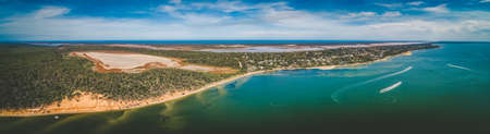 Pelican Bay in Gippsland, Australia - wide aerial panoramic landscape 写真素材