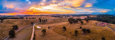 Vivid sunset in Australia aerial panorama 写真素材