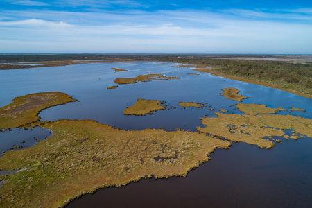 Aerial view of Gippsland Lakes coastal park in Australia