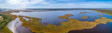 Scenic aerial panorama of a lake in Gippsland, Victoria, Australia