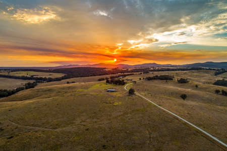 Beautiful sunset in Australian outback - aerial view