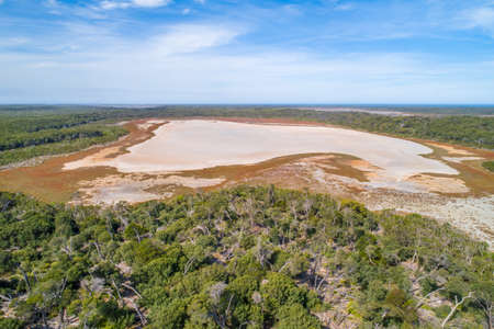 Aerial view of a dry lake in Gippsland, Victoria, Australia 写真素材