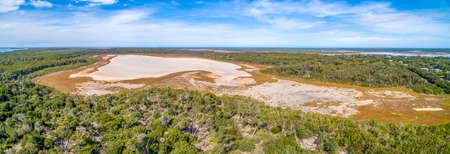 Aerial panorama of The Lakes National Park in Gippsland, Australia