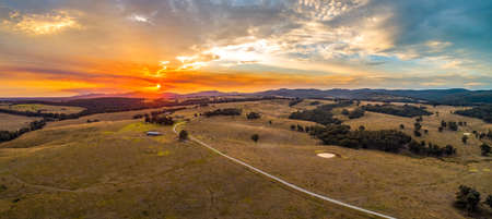 Vivid sunset in Australian outback - aerial panorama
