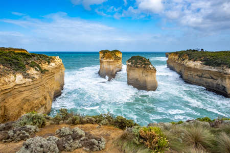 Tom and Eva lookout on the famous Great Ocean Road in Victoria, Australia Stock Photo
