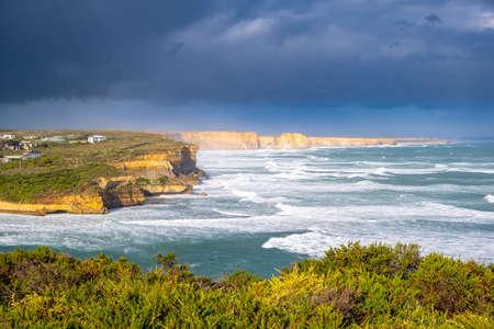 Scenic ocean coastline near Port Campbell township on the Great Ocean Road in Victoria, Australia Stock Photo