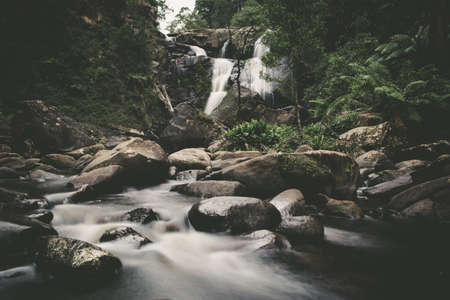 Atmospheric waterfall in a rainforest - beautiful landscape Stock Photo