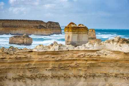 Amazing limestone rock formations along the famous Great Ocean Road in Victoria, Australia Stock Photo