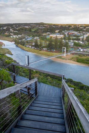 Port Campbell Creek Pedestrian Bridge and wooden stairs in Victoria, Australia Stock Photo