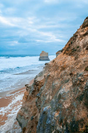 Scenic view of limestone rocks from the Gibbson Steps on the Great Ocean Road in Victoria, Australia Stock Photo