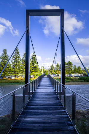 Diminishing perspective view of the new Port Campbell Creek Pedestrian Bridge in Australia