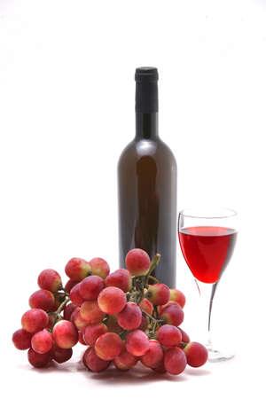 rose wine and vine over white