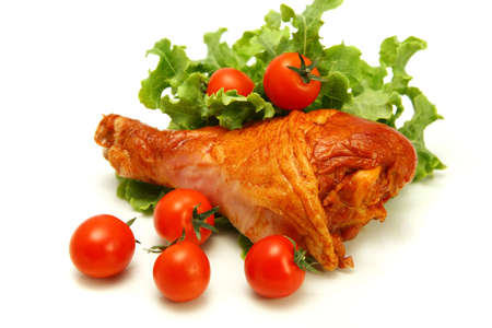 turkey leg with lettuce and cherry tomatoes Stock fotó