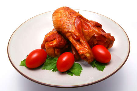 huge roast chicken wing and cherry tomato Stock Photo - 3817755