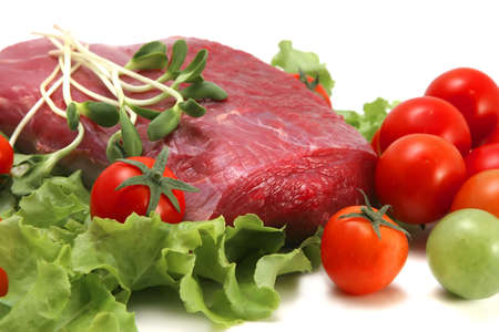 fresh raw beef image and vegetables Stock Photo