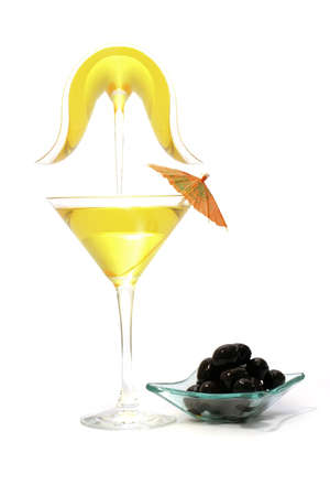 happyhour: martini glass and black olives over white