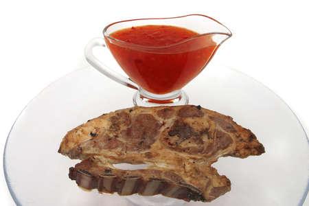 crusted: lamb steak and hot chili sauce