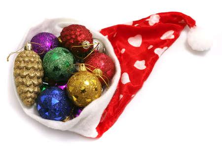 colorful christmas ball toys and santa hubcap Stock Photo - 3942861