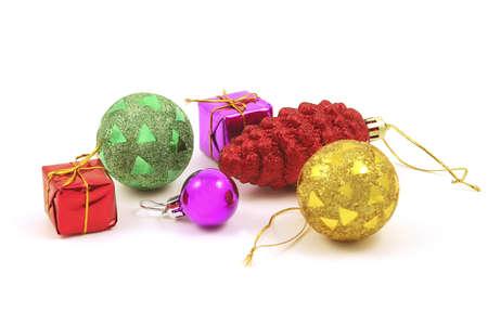 tinsel: many xmas toys on garland