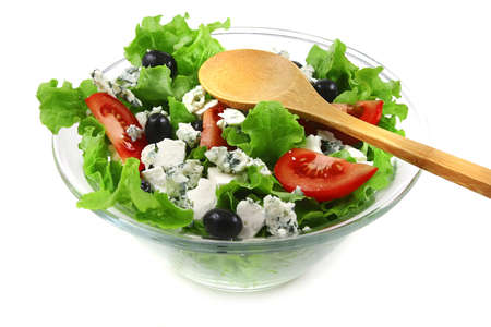 vegetable salad and roquefort cheese photo