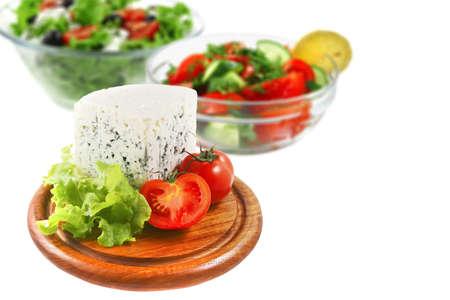 stilton: chunk of stilton blue cheese with green salads