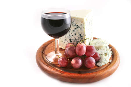 roquefort: roquefort cheese and grapes  with red wine