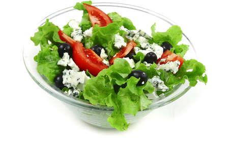 stilton: vegetable salad with stilton cheese over white