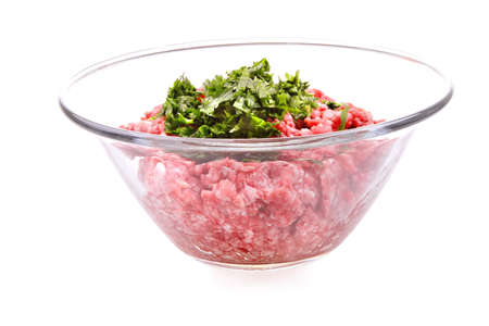 mince: mince meet inside transparent bowl over white