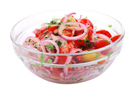 fresh tomato and onion salad inside transparent bowl photo
