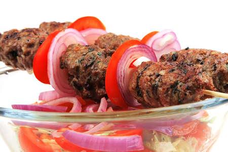 roast shish kebab served with salad Stock Photo - 4387822