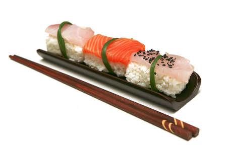 different types of sashimi over white background photo