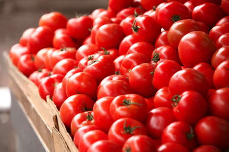 showed: fresh beauty tomatoes showed on market Stock Photo