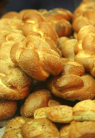 french loaf heap on bakery show window Stock Photo - 4478957