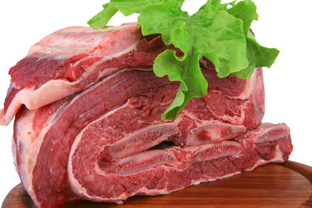 fresh uncooked meat heap on wood tray Stock Photo - 4502407