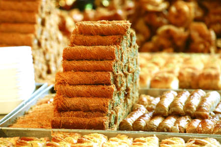 show garden: sweet oriental pastry and cakes on market show window Stock Photo