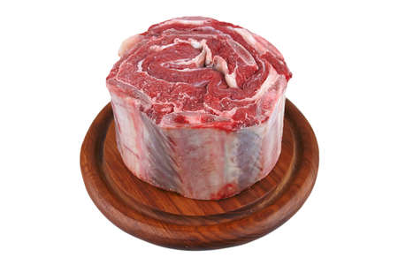 bunch of meat on wood shelf over white Stock Photo - 4552785