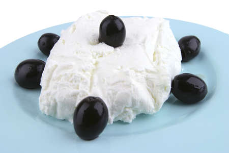 white cottage cheese and black olives front view photo