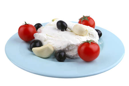 white cottage cheese with olives and cherry side view photo