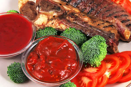 molhos: served beef steak and hot spicy sauces