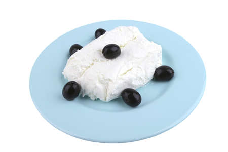 white cottage cheese and black olives top view photo