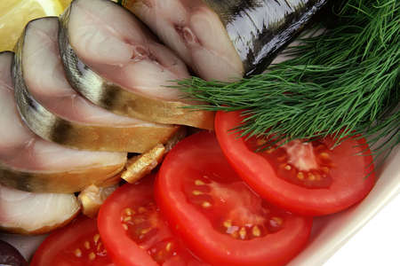 smoked fish served with tomato and fennel photo