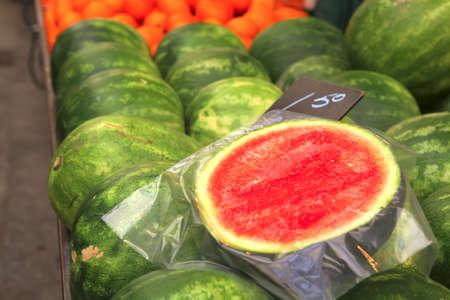 watermelon heap on open market as background Stock Photo - 4791678