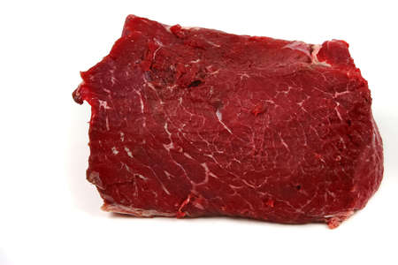 raw meat chunk over white photo