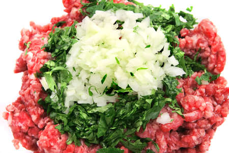 mince: mince beef close up  top view